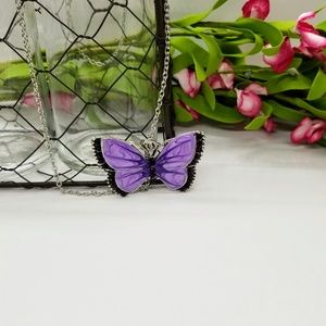 Large Purple Enamel & Silver Butterfly Necklace